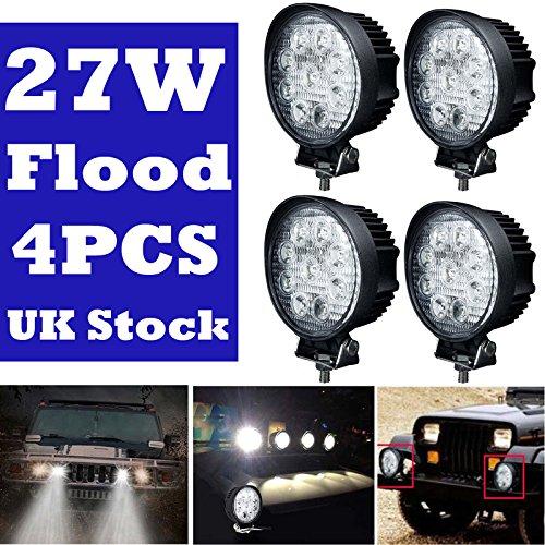 Foco LED de trabajo redondo 27 W 12 V 24 V todoterreno luces de conducción impermeable para coche, camión, SUV, barco, ATV 4 x 4 (juego de 4)