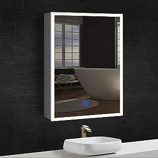 DICTAC Armoire Miroir Salle de Bain + éclairage + Prise, Armoire métallique, LED Tricolore (3000-6500K), Luminosité réglab...