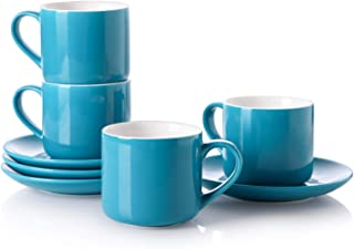 LIFVER (Set of 4) Cappuccino Cups with Saucers, 7 Ounces Porcelain Demitasse Cup and Saucer Sets for Coffee or Tea, Fashionable Blue