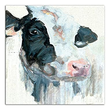 Curious Painted Dairy Cow 30x30 Canvas Wall Art