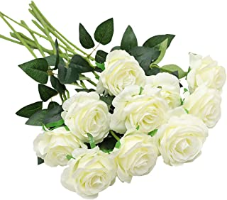 Nubry 10pcs Artificial Silk Rose Flower Bouquet Lifelike Fake Rose for Wedding Home Party Decoration Event Gift (White)