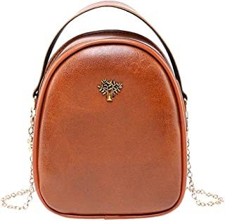 chinatera Crossbody Bags for Women Tree Decor Leather Shoulder Handbags Women Small Chain Shell Crossbody Bags
