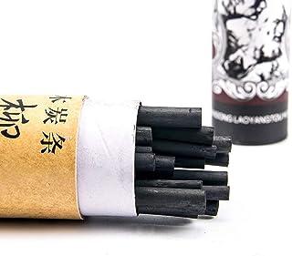 PPX Lot de 25 Crayons fusains 3-9 mm, pour Le Dessin, Œuvres Autonomes ou la Base de la Peinture, Noir (3-5 mm)