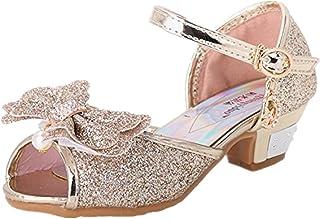 Tyidalin Sandales Ceremonie Fille, Chaussure à Talon Enfant Ballerine Princesse Paillettes pour Mariage Déguisement
