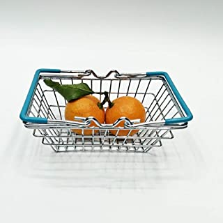 Ronshin Home Mini Simulate Supermarket Shopping Hand Basket Jewelry Fruit Storage sky blue