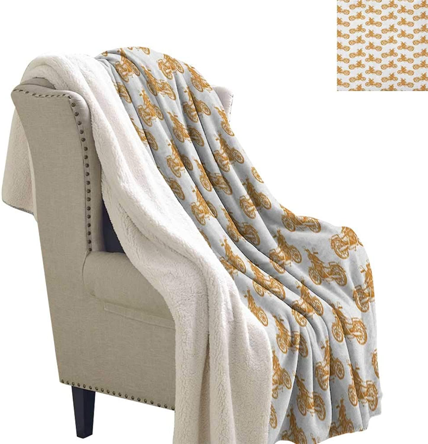 Suchashome Motorcycle Cozy Blankets and Throws Sketch Art Style Choppers Old School Vehicle with Rusty Gears and Engine Blanket Small Quilt 60x32 Inch Pale Brown White