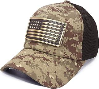 USA American Flag Chrome Patch Tactical Hat Micro Mesh Adjustable Baseball Cap
