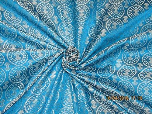 Tissu Brocade 100% pure Soie Bleu Aqua x argent Couleur 44\