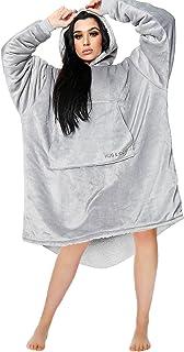 Gaveno Cavailia Premium Hug & Snug Blanket, Warm Snuggly Plush Sweatshirt, Comfy Adults, Polyester, Hoodie-Grey, One Size