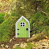 Miniature Fairy Gnome Home Door, Fairy Door for Tree Garden Fairy Door Fairies Sleeping Door Tree Statues Outdoor Wooden Statues Yard Art Garden Sculpture Decoration Tree Wall Lawn Decor (Green)
