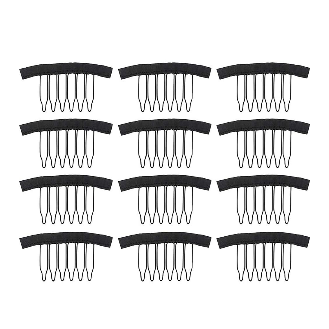 覚えている毎日シェルLurrose レースのかつらの帽子の毛延長のための12個のステンレス鋼のかつらクリップウィッグの櫛(黒)