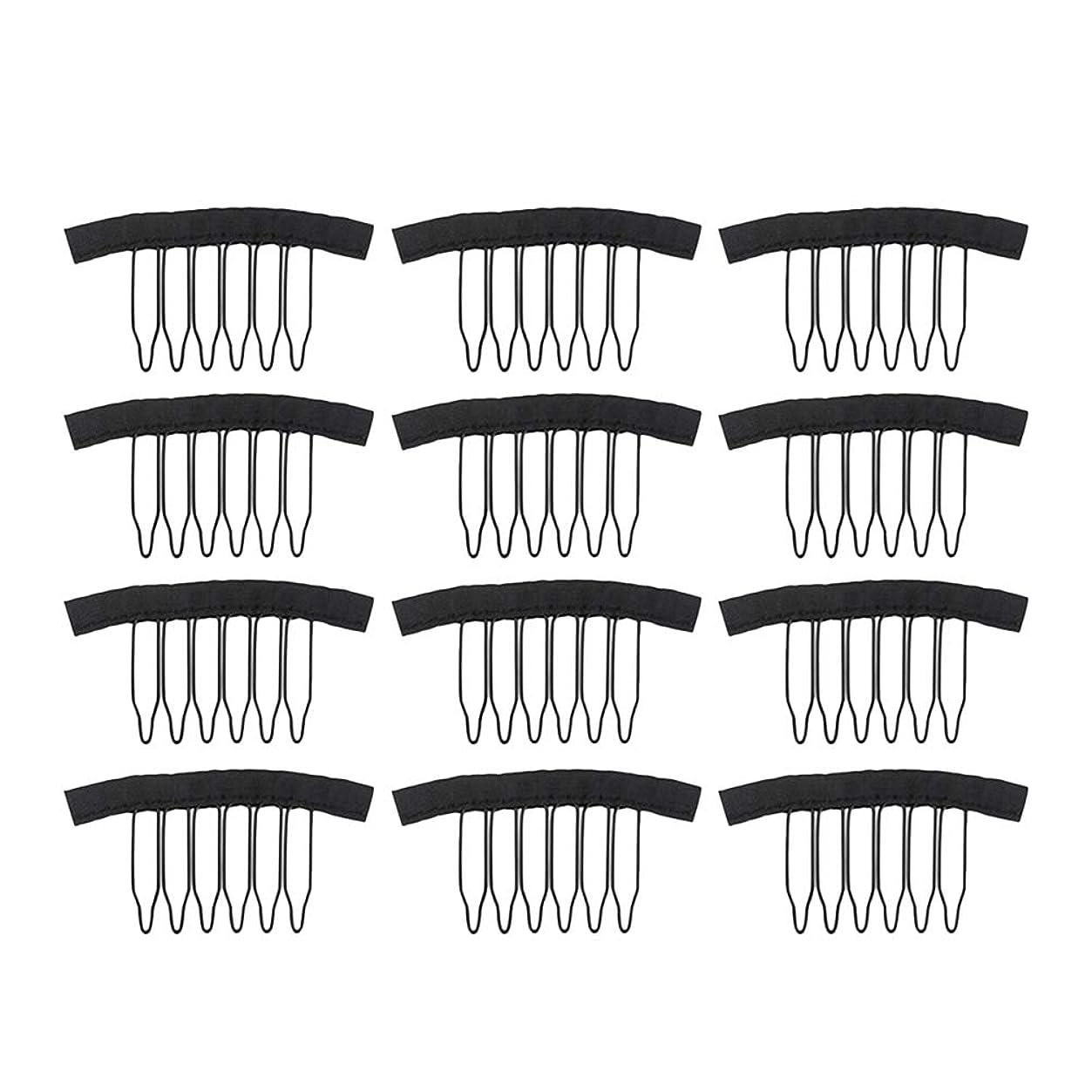 バランスメトリックパイロットFrcolor 12PC ウィッグ かつらピン ウィッグネットキャップクリップステンレススチール 女性用ウィッグアクセサリー(ブラック)
