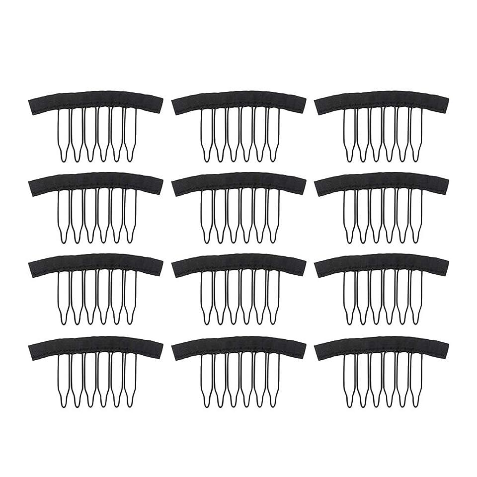 Lurrose レースのかつらの帽子の毛延長のための12個のステンレス鋼のかつらクリップウィッグの櫛(黒)