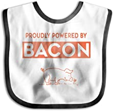 Powered by Bacon Funny Pig Soft Absorbent Baby Bib for Drooling,Feeding and Teething Black