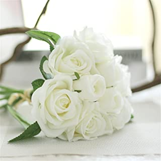 Houda Rose Artificial Flowers Bouquets, 9 Heads Fake Flowers Silk Roses Bridal Wedding Bouquet for Home Garden Party Wedding Decoration (02 White)