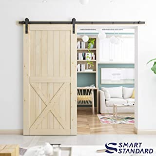 SmartStandard 42in x 84in Sliding Barn Wood Door Pre-Drilled Ready to Assemble, DIY Unfinished Solid Cypress Wood Panelled Slab, Interior Single Door Only, Natural, Single X-Frame (Fit 8FT Rail)
