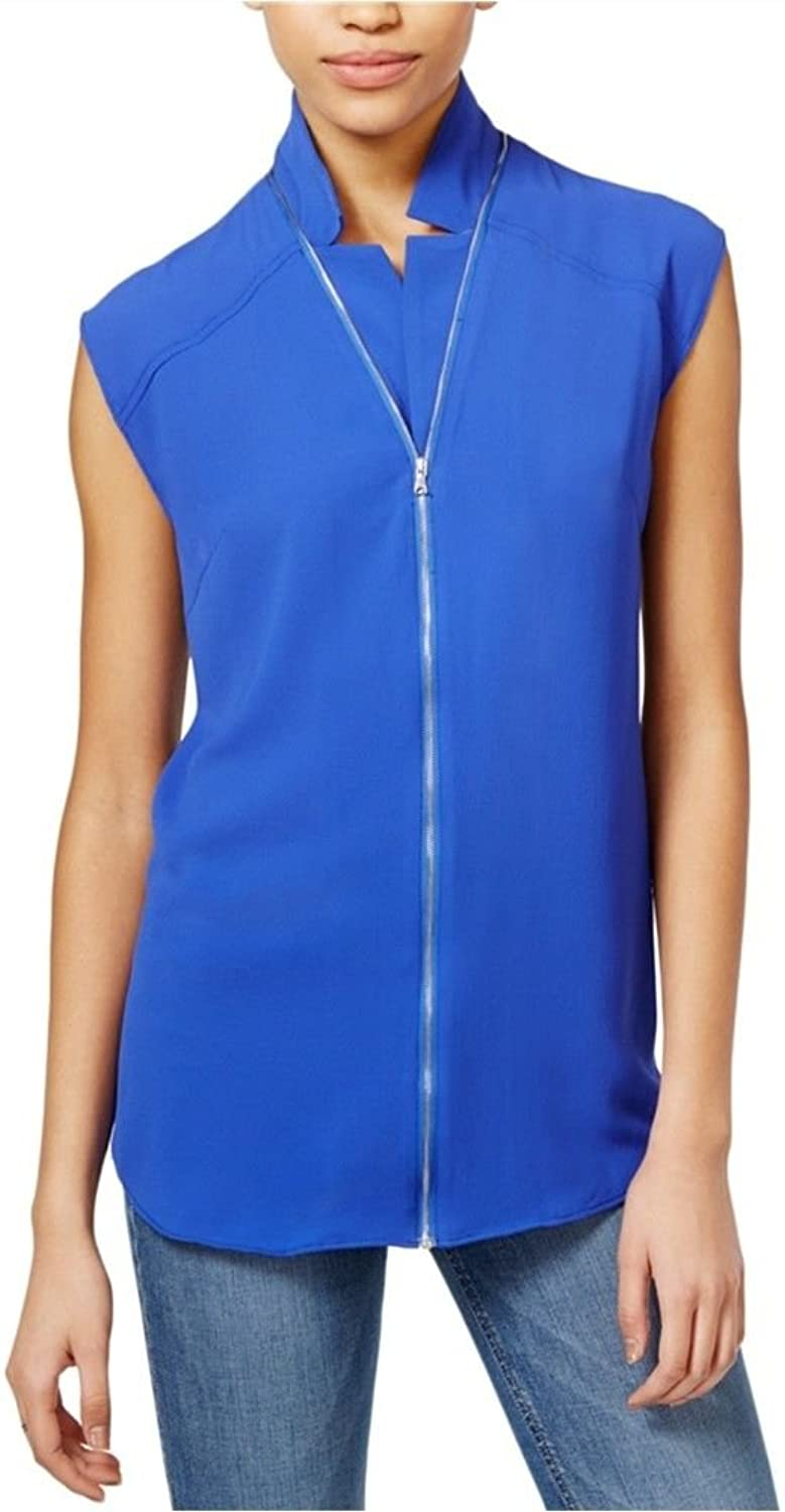 Rachel Roy Women's Textured Zipper Blouse, Royal bluee (XSmall)