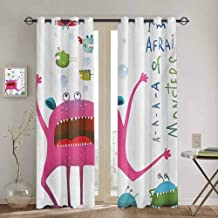 DONEECKL Funny All Season Insulation Underwater Beast Creature with Fun Monster Fish Im Afraid of Monsters Quote Kids Waterproof Fabric W52 x L84 Inch Pink Green