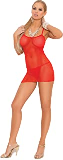 Elegant Moments Women's Slip Style Fishnet Mini Dress and Matching G-String
