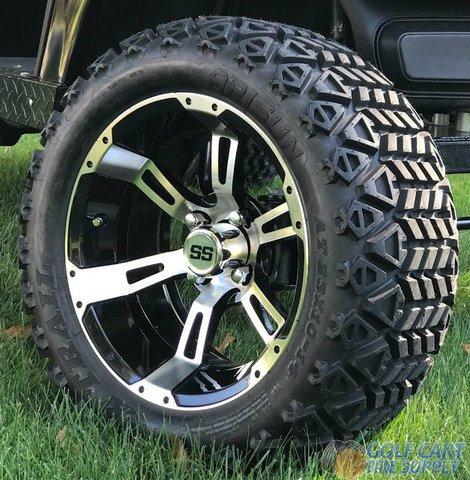 "14"" RUCKUS Machined/Black Golf Cart Wheels and 23x10-14"" DOT All Terrain Golf Cart Tires Combo - Set of 4"