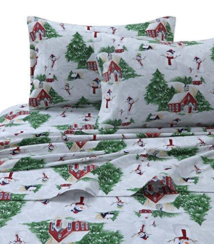Tribeca Living SNMANSHEETKIRG Snowman Printed Flannel Deep Pocket Sheet Set, King, Red/Green