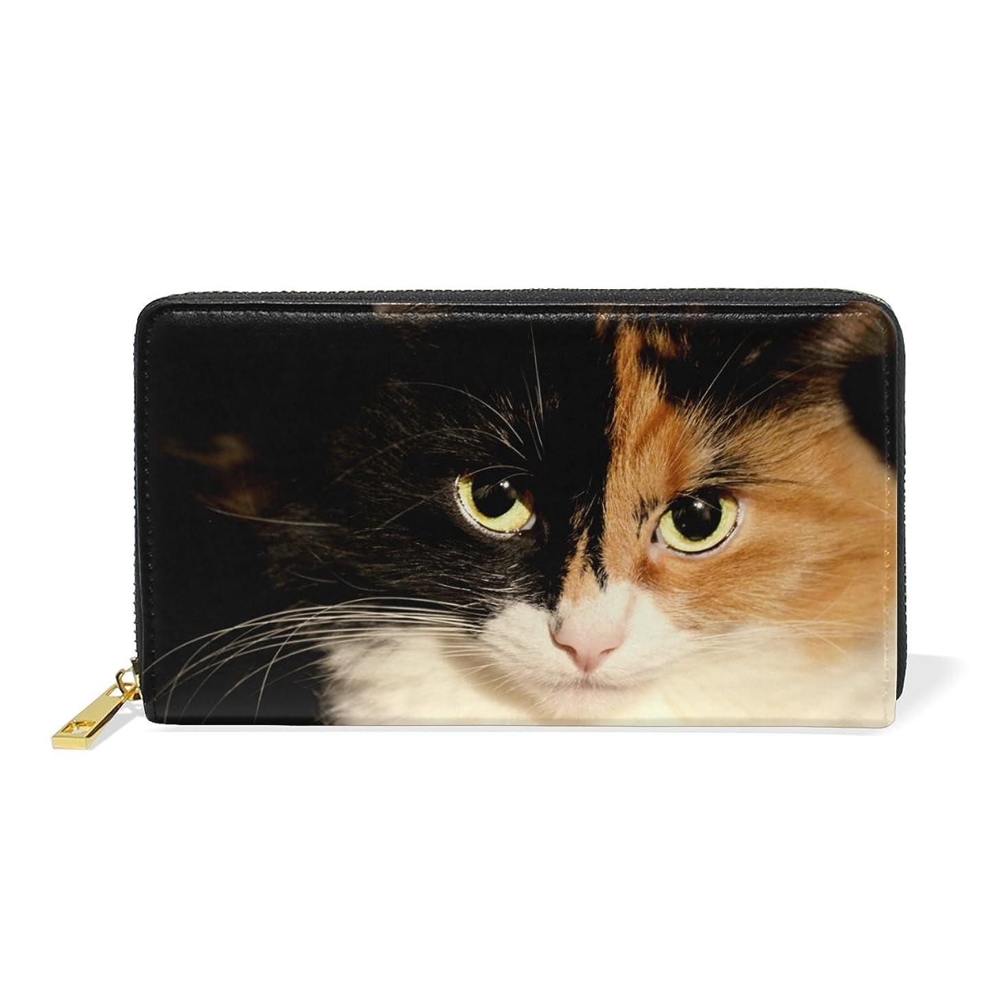 口ひげ被害者ミシン目AOMOKI ラウンドファスナー 財布 長財布 大容量 本革 可愛い猫