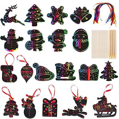 59 Scratch Art para niños, Hojas Dibujo Scratch, Hojas Papel de Rascar Navidad con...