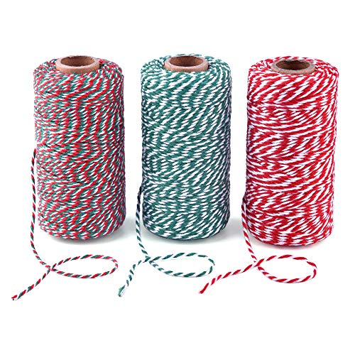 Zealor 3 Rolls Christmas Twine Cotton String Rope Cord for Gift Wrapping, Arts Crafts, 984 Feet