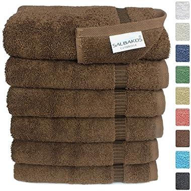 SALBAKOS Luxury Hotel & Spa Turkish Cotton 6-Piece Eco-Friendly Hand Towel Set 16 x 30 Inch, Chocolate