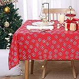Deconovo Mantel Navidad con Motivos Copo de Nieve Rectangular 140 x 240 cm Rojo