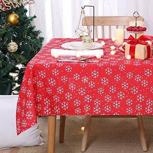 Deconovo Mantel Navidad con Motivos Copo de Nieve Rectangular 132 x 178 cm Rojo