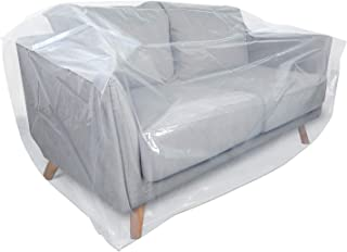 HOMEIDEAS 4 Mil Extra Thick Plastic Sofa Cover for Moving Protection & Long Term Storage, 3D Envelope Shape Furniture Cover, Waterproof & Tear Resistant(1 Pack, Loveseat)