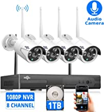 $229 Get [Expandable 8CH]Wireless Security Camera System with 1TB Hard drive with Audio, Hiseeu 8 Channel NVR 4Pcs 1080P 2.0MP Night Vision WIFI IP Security Surveillance Cameras Home,Outdoor, Easy Remote View