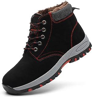 SROTER Mujer Hombre Invierno Botas de Seguridad Trabajo Zapatillas con Puntera de Acero Impermeables Botas de Nieve Zapato...