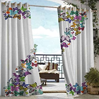 Exterior/Outside Curtains Letter Z,Multicolored Animal Pattern Cool Font Nature Exotic Bugs Capital Letter Z Design, Multicolor,W108 xL84 Outdoor Privacy Porch Curtains