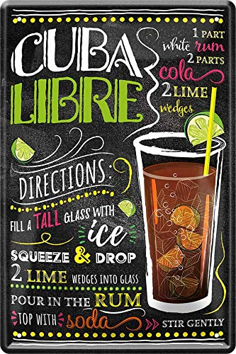 Cuba Libre Cocktail Rezept 20 x 30 cm Haus Bar Party Keller Deko Blechschild 134