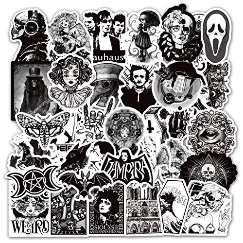 Ouceanwin 50 Stück Vinyls Stickers Schwarz Weiß Stickerbomb Graffiti Decals Set, Deko Sticker Wasserdicht VSCO Aufkleber für Auto Motorrad Fahrrad Skateboard Snowboard Gepäck Laptop MacBook