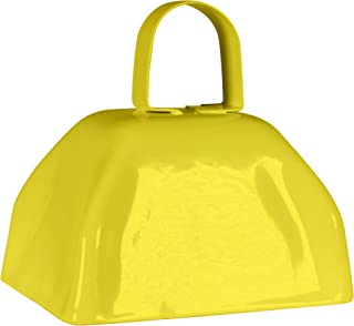 Metal Cowbells with Handles 3 inch Novelty Noise Maker - 12 Pack (Yellow)