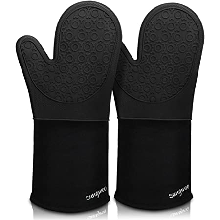 Extra Long Silicone Oven Mitts, sungwoo Durable Heat Resistant Oven Gloves with Quilted Liner Non-Slip Textured Grip Perfect for BBQ, Baking, Cooking and Grilling - 1 Pair 14.6 Inch Black
