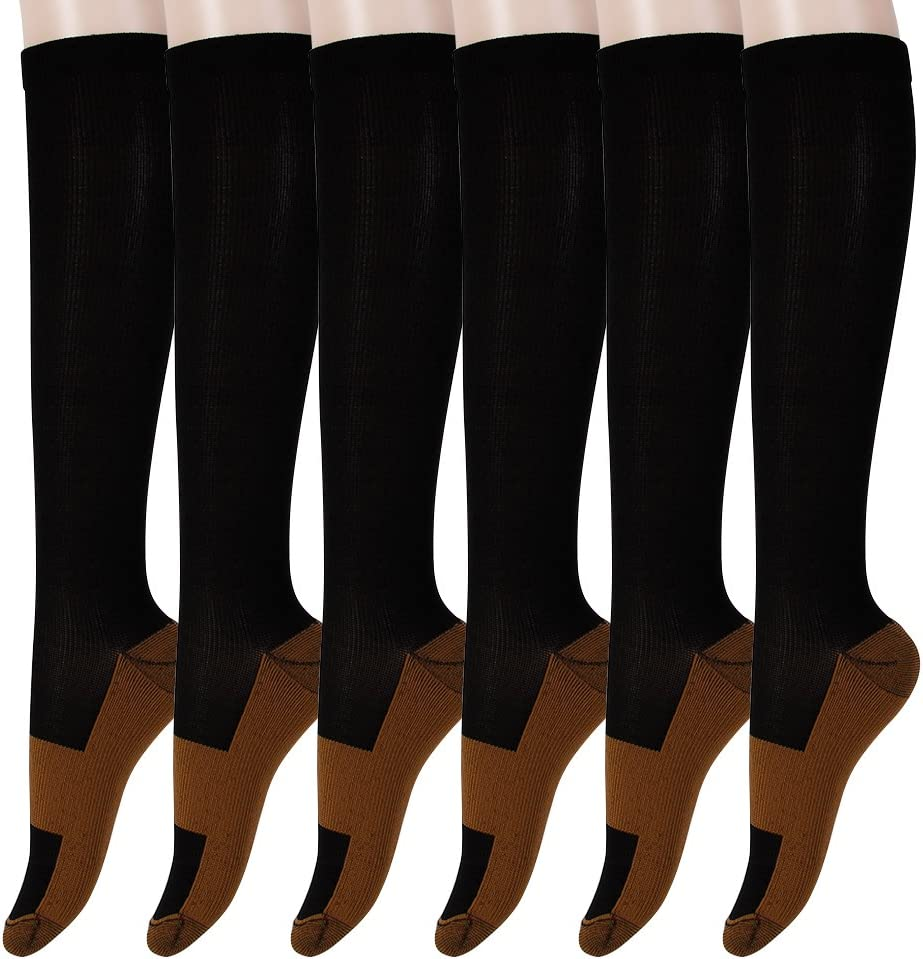 Graduated Copper Be super welcome Compression Socks Max 48% OFF 6 Fatigue Pairs Knee Hig Anti