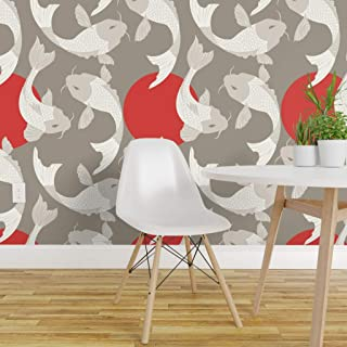 Spoonflower Pre-Pasted Removable Wallpaper, Carp Koi Fish Zen Garden Pond Japan Japanese Style Asian Swimming Aquatic Life Red and Print, Water-Activated Wallpaper, 24in x 36in Roll
