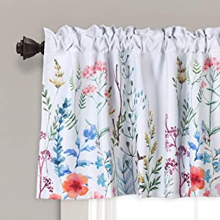"""Lahome Weeping Flower Window Valance - Bright Floral Blooming Pattern Window Treatment Room Darkening Window Curtain Valance for Kitchen Living Bedroom Room (18"""" x 52"""", Floral)"""