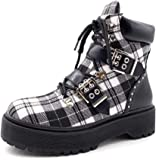 Angkorly - Women's Fashion Shoes Ankle Boots - Booty Trainers - Combat Boots - Biker - Rock - Gingham - Thong - Studded Block high Heel 4.5 cm