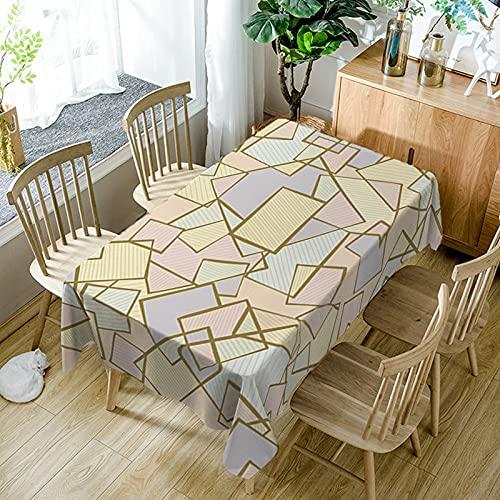 XXDD Mantel de Simplicidad Moderna Negro Blanco patrón de Costura geométrica a Prueba de Polvo Mantel Lavable Cubierta de Mesa de Comedor A14 140x160cm