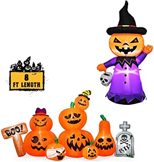 YUNLIGHTS 8FT Halloween Inflatable Pumpkins and Tombstone with 9 Built-in LED Lights & Blow up Halloween Inflatable Pumpkin with White LED Lights