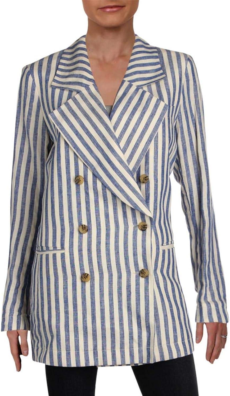 Scotch & Soda Womens Linen Striped TwoButton Blazer