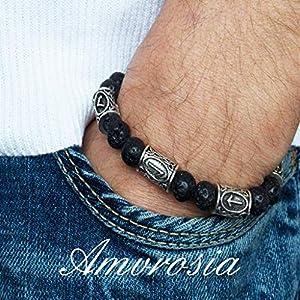 Bracelet with natural stones, gemstone bracelet with runes, lava stone bracelet, viking bracelet, Valentine's Day gift