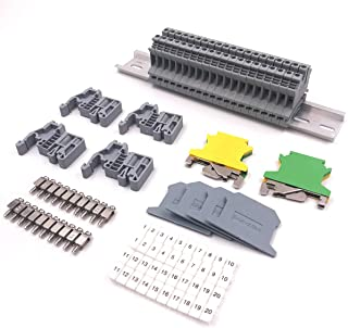 Erayco DIN Rail Terminal Blocks Kit, 20Pcs UK-2.5N 12 AWG Terminal Blocks, 2Pcs Ground Blocks, 2Pcs Fixed Bridge Jumpers, 4Pcs End Brackets, 4Pcs End Covers, 4Pcs Marker Strip, 1Pcs 8