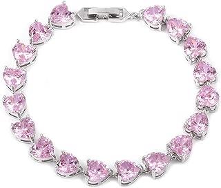 Silvertone Cubic Zirconia Love Heart Valentines Tennis Bracelet for Women 7.25
