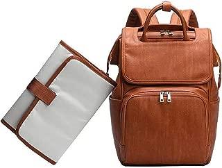 Leather Diaper Bag Backpack, Mom'sTravel Diaper Bag Backpack, Baby Nappy Leather Diaper Bag Thermal Pocket Large